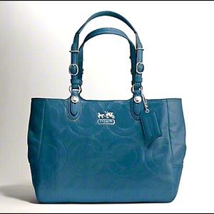 Coach Mia Embossed Leather Op Art Tote